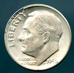 1950 S Roosevelt Dime MS 60