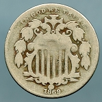 1869 Shield Nickel VG