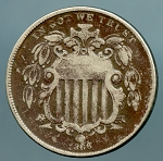 1866 Shield Nickel VG details lightly corroded