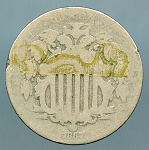 1867 Without Rays Shield Nickel About Good