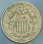 1867 Without Rays Shield Nickel Very Good