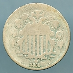 1868 Shield Nickel About Good