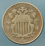 1868 Shield Nickel Good