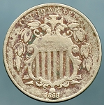 1868 Shield Nickel VG light discoloration