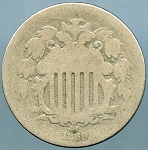 1869 Shield Nickel About Good