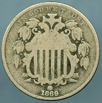 1869 Shield Nickel Fine