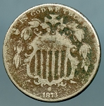 1873 Shield Nickel AG minus