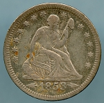 1853 Seated Quarter VF-20 corrosion on obverse