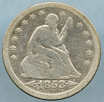 1853 Seated Quarter Very Good
