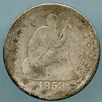 1853 O Seated Quarter Very Good