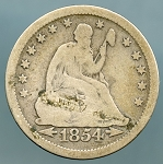 1854 Seated Quarter Very Good
