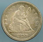 1857 Seated Quarter XF-40