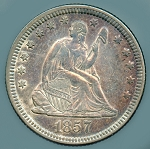 1857 Seated Quarter AU-50 Scratch obv.