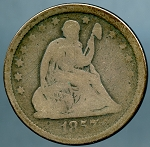 1857 Seated Quarter About Good/Good