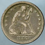 1857 Seated Quarter Very Fine+