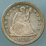 1858 Seated Quarter XF-45