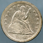 1858 Seated Quarter VF  Cleaned