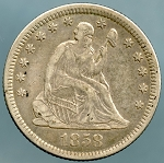 1858 O Seated Quarter Choice XF-40
