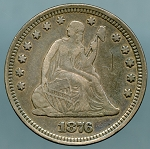 1876/76 Seated Quarter XF-40