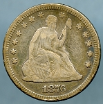 1876 Seated Quarter Fine