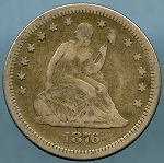 1876 S Seated Quarter VF-20