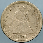 1876 S Seated Quarter Fine