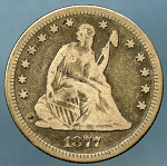 1877 Seated Quarter Fine