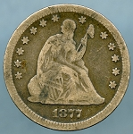 1877 S Seated Quarter Very Good