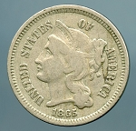 1865 Three Cent Nickel Fine