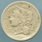 1866 Three Cent Nickel About Good