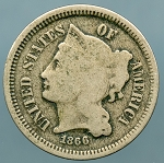 1866 Three Cent Nickel Good
