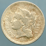 1868 Three Cent Nickel About Good