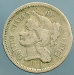 1868 Three Cent Nickel Good Rotated reverse