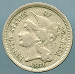 1881 Three Cent Nickel Fine