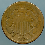 1864 Two Cent Piece AG