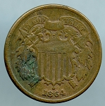 1864 Two Cent Piece Fine corrosion obverse