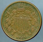 1865 Two Cent Piece VF-20