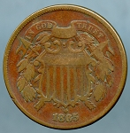 1865 Two Cent Piece Fine
