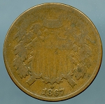 1867 Two Cent Piece About Good