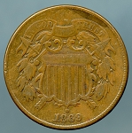1869 Two Cent Piece Fine