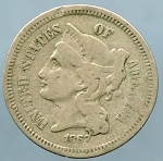 1867 Three Cent Nickel Very Good
