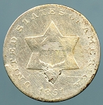 1851 Three Cent Silver AG