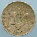 1852 Three Cent Silver VF-20 light corrosion obverse