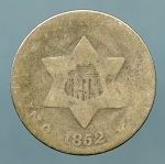 1852 Three Cent Silver About Good