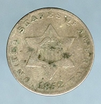 1852 Three Cent Silver VG