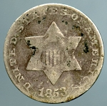 1853 Three Cent Silver About Good