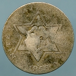 1856 Three Cent Silver About Good