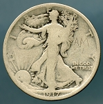 1917 S Reverse Walking Half Dollar About Good