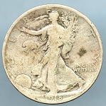 1918 Walking Half VG details big spot on obverse