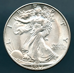 1937 S Walking Half Dollar MS 64